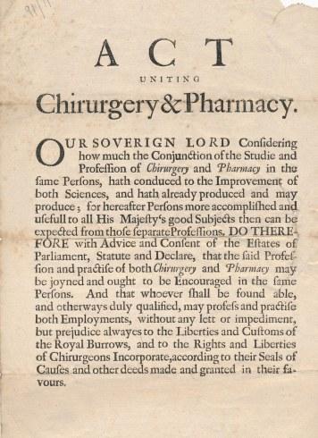 Act Uniting Pharmacy & Chirurgery, 1682, RCSEd 1/3/3/23
